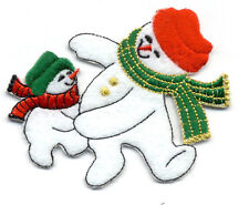 Snowman - Winter - Dancing - Father & Son - Embroidered Iron On Applique Patch