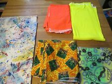 Vintage 90's Fabric Lot Neon Orange Yellow Tribal remnant Paint Splatter Atelier