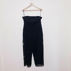 City Chic Playsuit Plus Size XS Black Layered Lace Jumpsuit