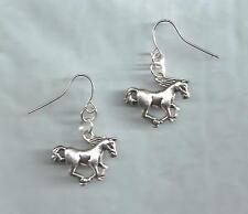 Running Mustang Horses earrings-silver metal charms, drop/dangle/hook