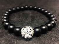 Onyx matt - silberfarbener Löwenkopf - Armband Bracelet Perlenarmband 8mm