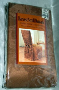 NEW Harvest Scroll Damask Fabric Dining Room Chair Cover Kitchen BRONZE