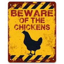 Beware Of The Chickens | Vintage Metal Garden Yard Warning Sign | Allotment Sign