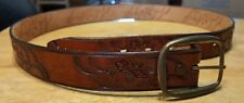 Unbranded belt tooled leather brown western size 34 small  cowhide brass buckle