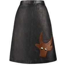 PIERRE CARDIN c.1970's Black Genuine Leather Deer Applique A-line Skirt Size 12