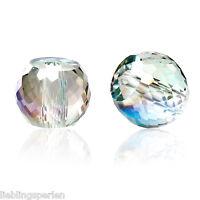 30 Glas Perlen Rund Mehrfarbig Transparent Facettiert Beads zum Basteln 8mm L/P