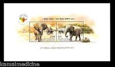 India 2011 MNH SS, Africa India Forum, Asian & African Elephant, Wild Anim -Ea12