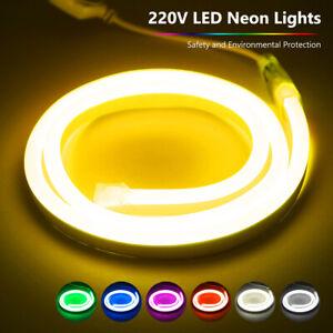 Flexible Soft LED Neon Glow Light Strips Rope 220V Waterproof 10/20/30/40/50 M