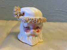 Vintage Santa Head Spaghetti Trim Hat Pepper ShakersCeramic KREISS 1956
