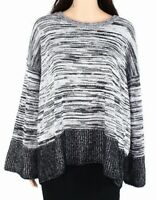 Style & Co Womens Boxy Sweater Black 2X Plus Marled Knit Bell-Sleeve $69 094