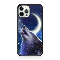Majestic Howling Space Wolf Animal Crescent Moon Galaxy Space Phone Case Cover