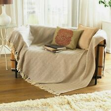 NATURAL BEIGE HERRINGBONE 100%25 COTTON CHAIR  SOFA THROW BEDSPREAD 127x 152cm