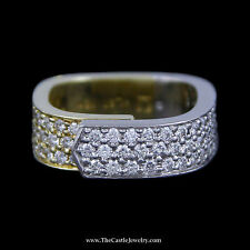 Squared Ring w/ Pave Set Round Brilliant Cut Diamonds in 18k Yellow Gold & Plat