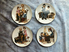 """Norman Rockwell Set of 4 1982 Plates """"Four Beloved Classics"""" Series Free Ship"""