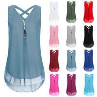 Summer Womens Casual Solid Blouse V Neck Sleeveless T Shirt Slim Zipper Tank Top