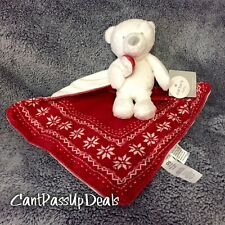 NWT Carter's Cuddle Blanket Rattle Teddy Bear~Red Fair Isle Security Blanket