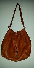 VINTAGE FENDI ROMA SAS  BROWN PURSE ITALY AMBER BUTTONS LEATHER  AUTH MED SZ
