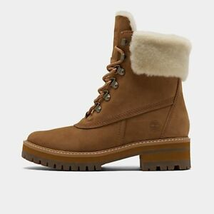 """AUTHENTIC Timberland Courmayer Valley 6"""" Brown wintry faux fur Boots Women size"""