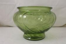 Vintage Napco Green Clear Glass Vase / Planter - Swirl Design - #1192