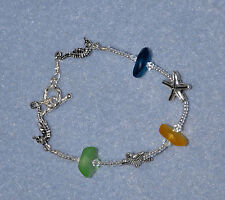 "8"" Handmade Silver Plated Sea Horse Seahorse Sea Glass Bracelet"