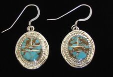 Native American Navajo Sterling #8 Mine Turquoise Earrings W/C.O.A Tony Skeets