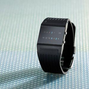 """Binäruhr: Binär-Armbanduhr """"Future Line"""" mit blauer Anzeige, für Herren"""