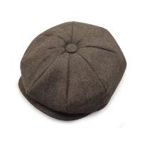 Mens Tweed Herringbone Cap Cabbie Newsboy Gatsby Flat Ivy Golf Baker Beret Hat