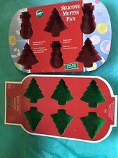 Wilton New Christmas Tree & Tree/Frosty  Silicone Baking Molds 6 Cavity New Ea