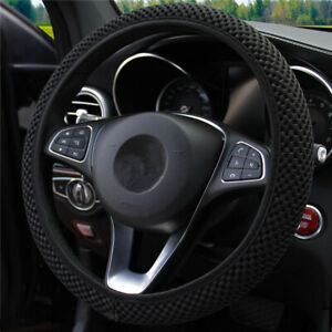 Universal 38cm Elastic Car Auto Steering Wheel Meryl Breathable Cover Black