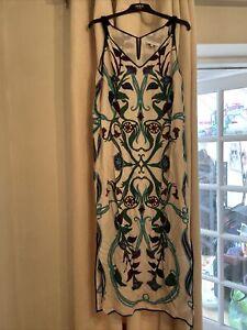 Gerard Darel Silk Blend Summer Dress 40 Size 12 Maxi Midi