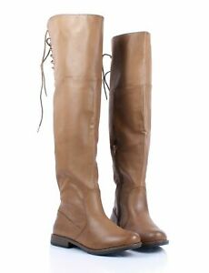 BAMBOO Taupe Color Back Lace Up Faux Leather Womens Over the Knee Boots Size 6.5