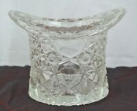 VINTAGE CLEAR  FENTON GLASS TOP HAT, DAISY & BUTTON