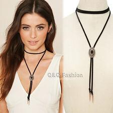 Chic Black & Gold Mayan Calendar Concho Tattoo Bolo Tie Choker Collar Necklace W