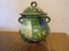 Pot couvert , sucrier   forme chaudron poterie savoyarde , Savoie  edelweiss
