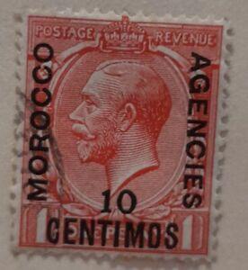 1914-15 Morocco Agencies 10c on 1d Scarlet Stamp