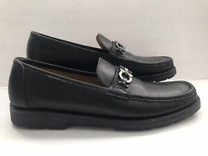 Salvatore Ferragamo Italy Horsebit Gancinni Black Suede Leather Leather 13