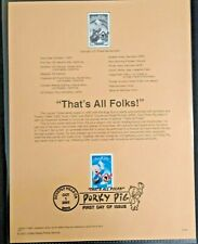 PORKY PIG THAT'S ALL FOLKS! WARNER BROTHERS #3534  USPS FD Souvenir Page 2001