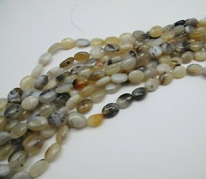 Grey Agate oval beads 10x14mm. Natural gemstone beads. Jewelry making