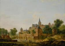 FOLLOWER OF JAN VAN DER HEYDEN | A view of an old fortified town with figures...