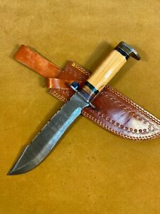 LOUIS MARTIN RARE CUSTOM HANDMADE DAMASCUS ART HUNTING BOWIE KNIFE OLIVE WOOD