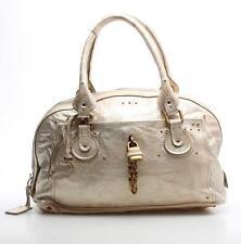 Chloe Champagne Shimmer Leather Paddington Bowler Bag