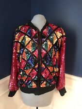 Colorful Sequin Zipper Jacket with Silk Lining