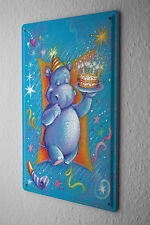 "Anniversary Party Decoration Fun Tin Sign Hippo Birthday Card Metal Plate 8X12"""