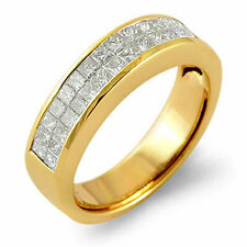 1.75 Ct Princess Cut Unisex Diamond H Wedding Band Ring 14K Yellow Gold Size 9.5