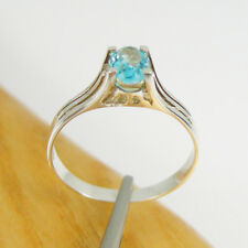 1.0 Carats Oval 7x5mm Blue Topaz Claw Ring Genuine 925 Sterling Silver, R3221