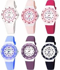Lorus White Dial Rubber Strap Girls / Ladies / Childrens Watch 100mWR Back Light