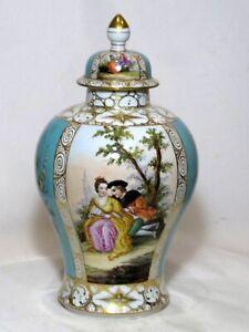 Antique Helena Wolfsohn Dresden Lidded Vase. VGC