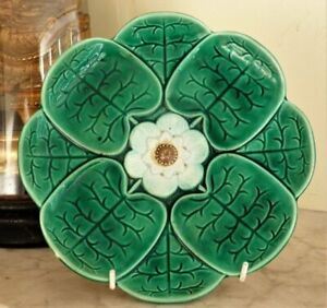 Antique lily pad majolica plate