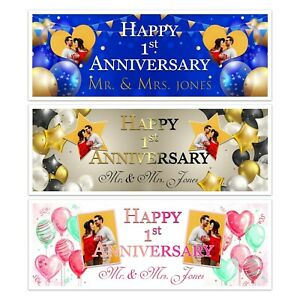 PERSONALISED 1st ANNIVERSARY PHOTO MR & MRS BANNER ADULTS CLEBRATION WALL DECOR