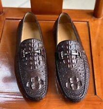 Men's Shoes Genuine Crocodile Alligator Skin Leather Handmade Dark Brown #SM1202